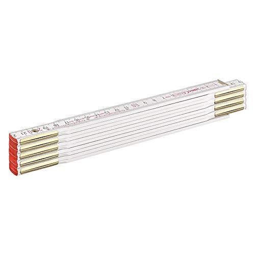 BMI Zollstock 9042, robuster Meterstab aus Buchenholz, 2-Meter-Länge mit Duplex-Teilung, Gliederstärke 3 mm, 10-gliedrig, weiß,Art.-Nr. 980904200