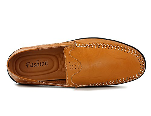Respirável Homens Chinelo Artesanal Baixos De Mocassim Condução Sapatos De Sapatos Lazer Couro Estúdio Amarelo Sapatos Sk rqxg0PHr