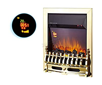 FoxHunter Traditional Electric Fire | Gold Frame Gas Coal Fire Flame Effect Fireplace Heater Remote Control | Indoor Home Heater Fire | Insert Style Fireplace - EFI01 Gold