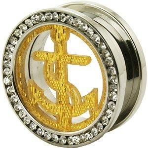k mit goldfarbenen, glitzernd, Design'Anker und Multi-Anhänger Felgen Ohr Messgerät Flesh Tunnel Sattel-Plug Ohrring ()