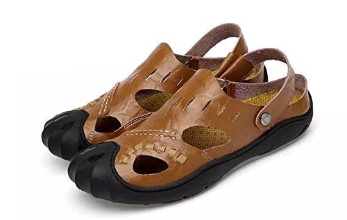 Sandali sportiv estivi uomo trekking ciabatte cuoio estive sandalo scarpe sportivi pelle mocassini sportivo outdoor beach,khaki,41.5/42 eu,42 cn label size