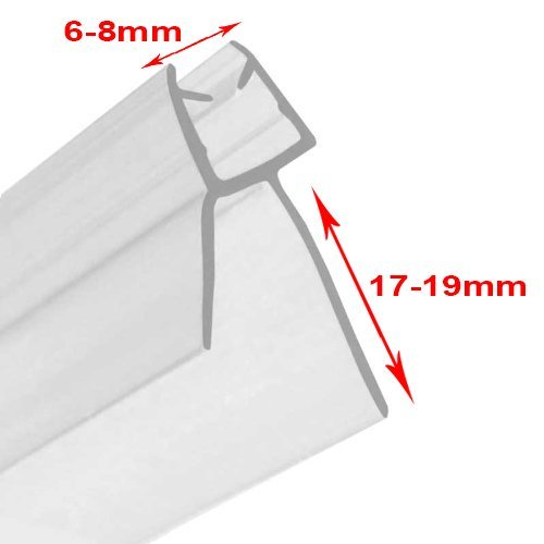 massG® Rubber Plastic Bath Shower Screen Door Seal Flexible Strip (Straight Curved Glass Thickness 6mm - 8mm & Gap to Seal 17mm - 19mm) by massG