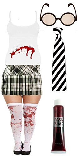 lloween Bloody Ladies School Girl Black&White Tartan Skirt Vest Fancy Dress Costume (UK 8, Full Bloody Costume) ()