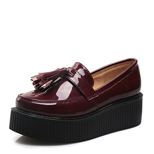 RoseG Damen Mokassin Flache Plateauschuhe Gote Punk Creepers Schuhe Rot Size37