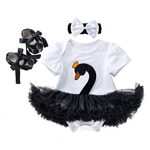 WUSIKY Sommerkleid 3 STÜCKE Kleinkind Baby Mädchen Cartoon Swan Prinzessin Kleid + Stirnbänder + Schuhe Set Outfit Tutu Kleid Neues Kleid Kinder Geschenk(73,Weiß)