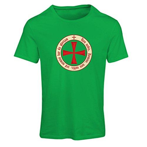 Frauen T-Shirt Tempelritter Templer Orden T-Shirt (Knights Templar) für Herren mit Tatzenkreuz Ordo Red (XX-Large Grün (Erwachsene Knight Kostüme Templar)