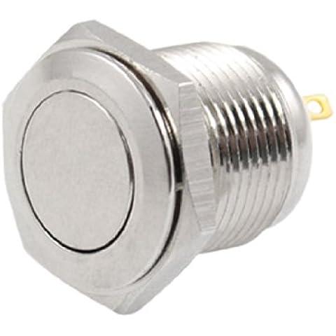 Sourcingmap - 2a off pulsador dc 36v (a) ninguna 16mm metal redondo momentáneo interruptor de cabeza plana
