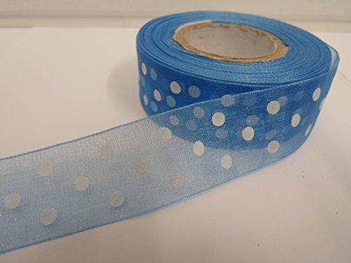 2 m x 25 mm, mit organza-Schleife, gepunktet, Blau, Royal, dunkel mit weißen Punkten/gepunktet - Blau Royal Weiß Mit