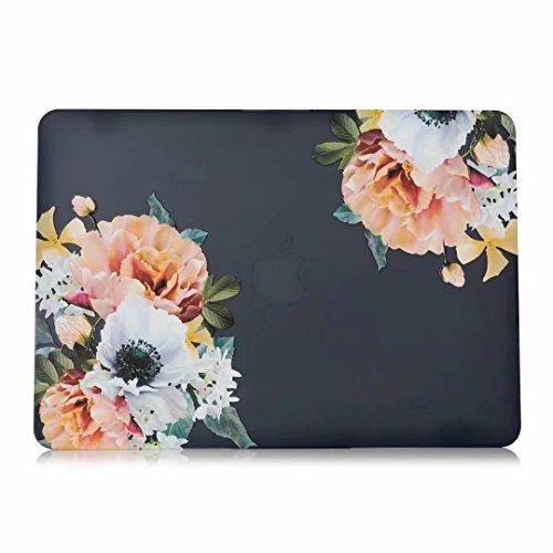 One Micron MacBook Air 27,9cm Fall, Ultra Slim PU Leder Beschichtet Cover schützende und Leichte Schutzhülle Zum Aufstecken für MacBook Pro 13''(A1278) with CD-ROM Black Floral - Kunden-id-nummer