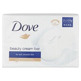 Dove Original con ¼ de Crema Hidratante, Jabón en Pastilla para Piel Tersa y Suave – 100 g x 2