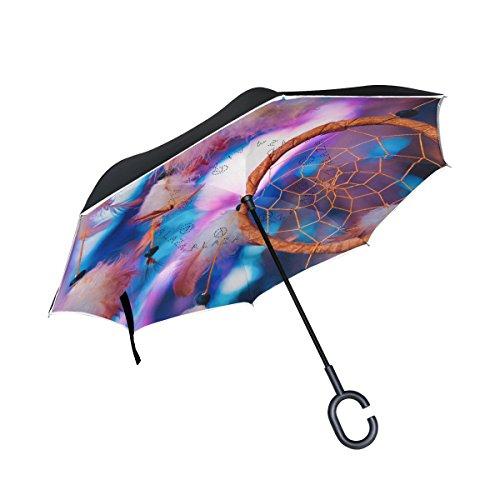 jstel doble capa invertida Atrapasueños brillante multicolor paraguas coches Reverse resistente al viento lluvia paraguas para coche al aire libre con asa en forma de C