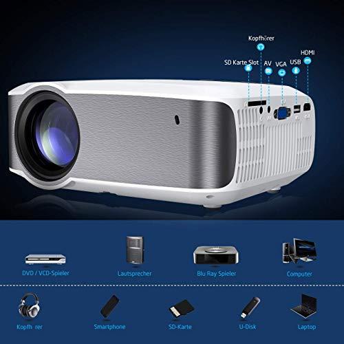 Projektor Mini-Beamer 720P-Video und Unterstützung Full HD 1080P, +100% Helligkeit, tragbarer Filme, Gaming-Projektor