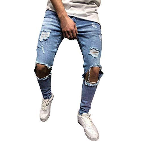 Beonzale Herren Freizeit Sporthose Feste Lose Jogginghose Skinny-Stretch-Denim-Hose für Herren Distressed Ripped Freyed Slim Fit Jeans-Hose - Classic Distressed Jeans