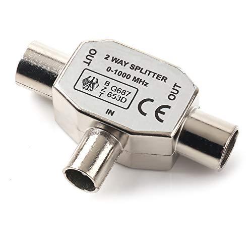 NANYI Stecker auf zwei weibliche TV Antenne Koaxial Koppler, T / F Typ Anschlussbuchse RF Coax Antenne Adapter Nickel Plating-1 Pack