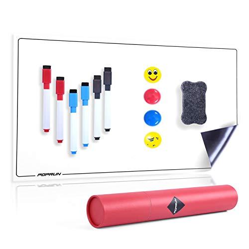 POPRUN Magnettafel Kühlschrank magnetisches Essensplaner Whiteboard A4+ abwischbar Wochenplaner,Whiteboard Planer für Einkaufsliste Putzplan Küche 43 x 28 cm