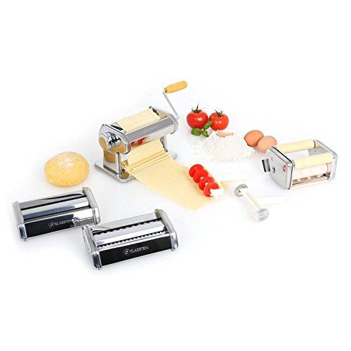 Klarstein Pasta Maker Máquina para hacer pasta 3 accesorios (rodillo para amasado, cuchilla ajustable para corte de masa, estructura manual gracias a manivela, agarre de seguridad, acero inoxidable)