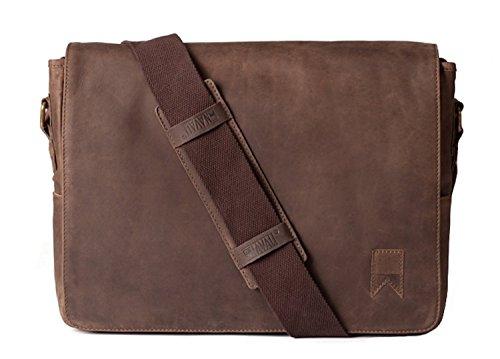Navali Mainstay Laptop Umhängetasche Vintage Messenger Bag aus echtem Wild-West-Leder - Braun (Bag Messenger Leder Mainstay)