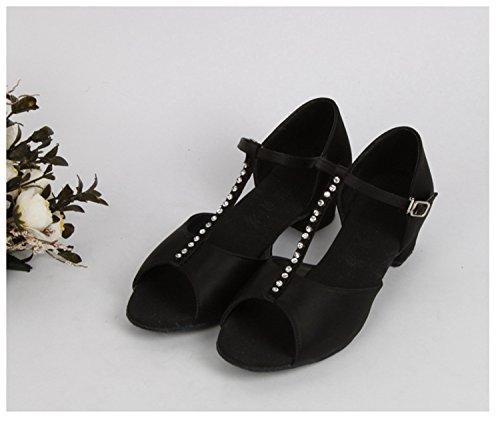 Miyoopark ,  Mädchen Tanzschuhe Black-3.5cm Heel