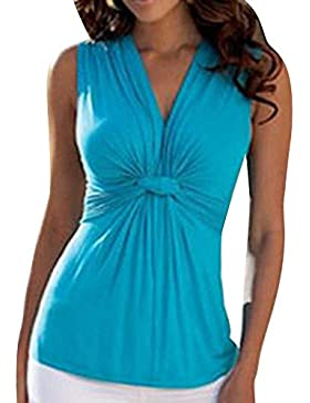 Mujer Fruncido Y Plisado Sin Mangas Camiseta V-Cuello Elegante Casual Azul S
