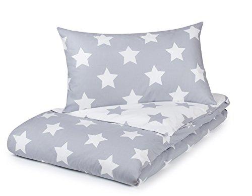 Juego de funda de edredón individual, color gris con estrellas blancas