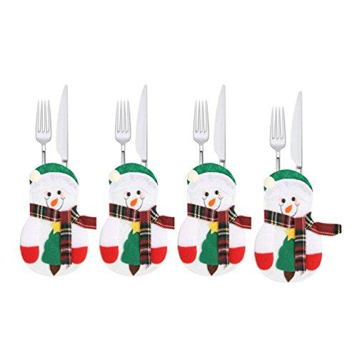 Albeey 4 Stück Weihnachten Tischdeko Bestecktasche Besteckhalter Weihnachten Deko Tische Accessoires (Schneemann)