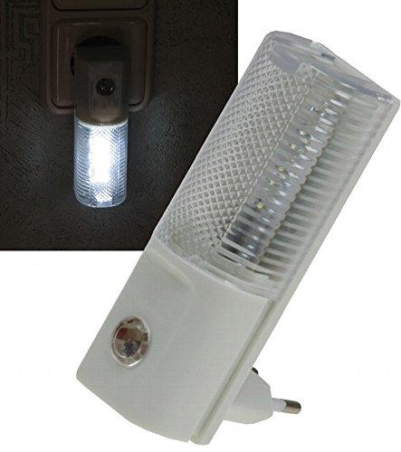 ChiliTec Luz Nocturna LED, luz de orientación con Sensor de día Nocturno, Enchufe de 230 V, se Enciende en la Oscuridad, 1 Unidad, 1 W, luz Blanca
