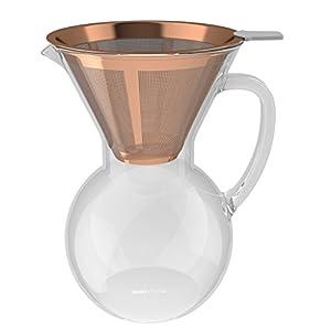 bonVIVO Aldrono Pour Over Coffee Machine, Filter Coffee Maker Reusable Coffee Filter Made Stainless Steel, Drip Coffee Maker Glass Jug Coffee Brewer Filter In Copper Finish, 500ml
