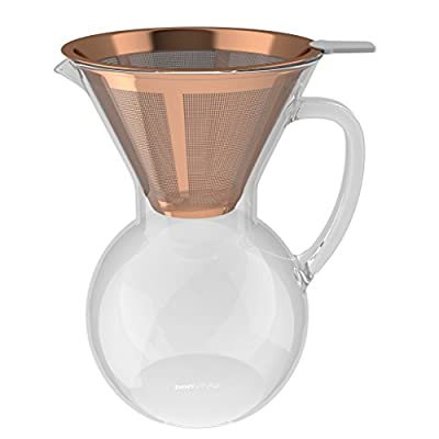 bonVIVO Aldrono Pour Over Coffee Machine, Filter Coffee Maker Reusable Coffee Filter Made Stainless Steel, Drip Coffee Maker Glass Jug Coffee Brewer Filter In Copper Finish, 500ml