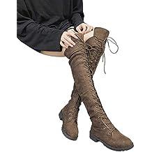 c18b08e1ddc3 junkai Damen Hohe Stiefel, Overknee Stiefel Flach Winter Flachen Wildleder  Schnüren Plateau High Boots Winterschuhe