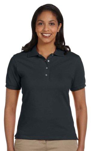 Jerzees Womens Knit Collar Feminine Fit Polo Shirt Black
