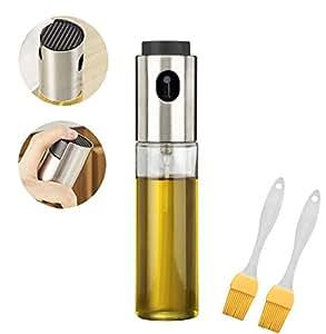 Bottiglia di vetro dello spruzzatore dell'olio di oliva dell'acciaio inossidabile con 2 spazzole libere dell'olio per BBQ/aceto/salsa di soia