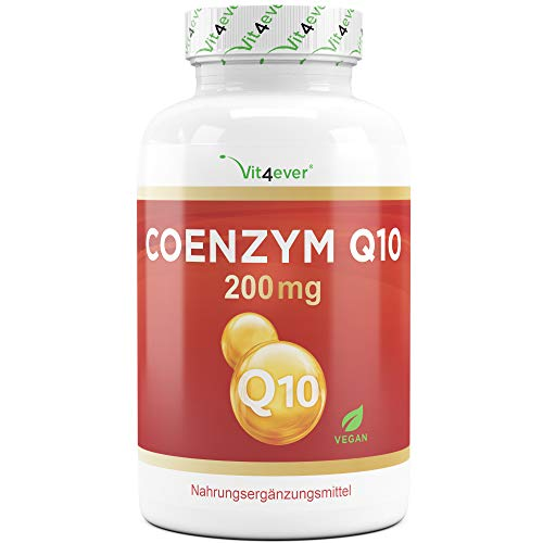 Vit4ever® Coenzym Q10 200 mg je Kapsel - 180 Kapseln im 6 Monatsvorrat - Laborgeprüfter Wirkstoffgehalt & Reinheit - 100% Ubichinon - Aus pflanzlicher Fermentation - Vegan