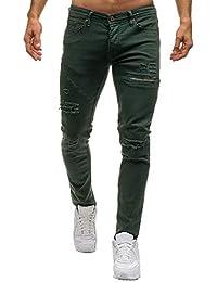 c809eb8d37 Gusspower Pantalones Vaqueros Hombres Rotos Pitillo Slim Fit Skinny  Pantalones Casuales Elasticos Agujero Pantalón Personalidad