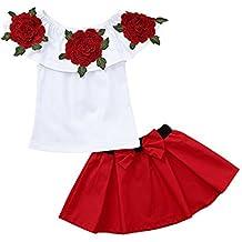 Bibao - Vestido de Princesa para niñas con Hombros Descubiertos y Faldas Bordadas