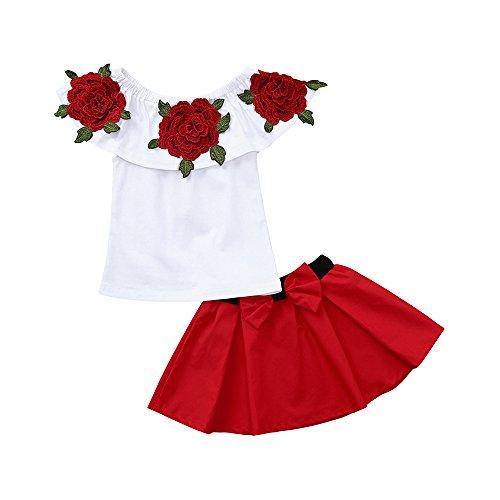 Kasten Faltenrock (Sanahy Kleinkind Säugling Neugeborenes Baby Outfit Set Blumendruck Schulterfrei Tops + Elastische Taille Rüsche Faltenrock Kleidung Set 2 Stück)