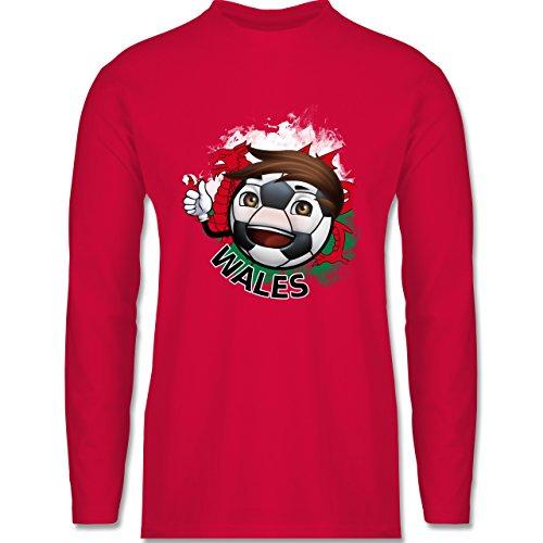 Shirtracer Fußball - Fußballjunge Wales - Herren Langarmshirt Rot