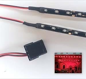 Top LED - Strisce luminose per modding PC (9 LED x 2 strisce da 15 cm), attacco molex rosso Rosso brillante 60 cm
