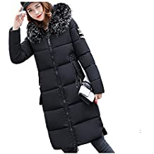 OranDesigne Donna Invernali Giacca Lungo Caldo Cappotto con Cappuccio Collo  di Pelliccia Casual Eleganti Piumino Parka f09c1d86f1d