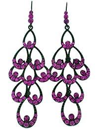 Schmuckanthony Abi Ball Abend Hochzeit Schmuck lange Ohrringe Kristall Magenta Violett Purple Lila 9,5cm lang