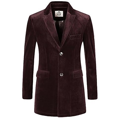 E-artist Mens Slim Fit Casual Velvet Long Blazer Jackets X36 Wine X-Large