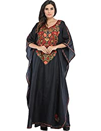 Exotic India Phantom-Black Kashmiri Kaftan With Ari Hand-Embroidered Flo - Black
