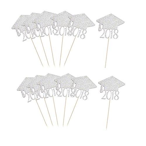 (Sharplace 20Stück Graduation Cap Form Cupcake Topper - Silber, 8 x 5.3cm)