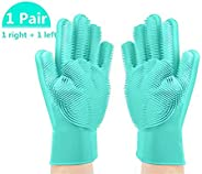 House of Quirk Magic Silicone Gloves with Wash Scrubber, Reusable Brush Heat Resistant Gloves Kitchen Tool for