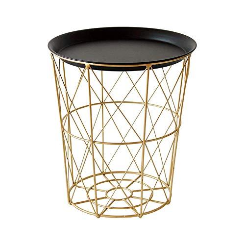 SMLCTY Modernes Gold Small Draht Beistelltisch Metall Kaffee End Beistelltisch mit Lift Off Tray Top, dekorativen Korb oder Aufbewahrungsbehälter, zarter und Heller Oberfläche, leicht zu reinigen