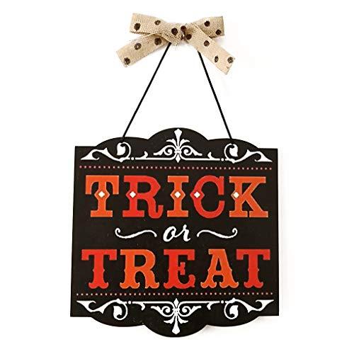 F-blue Halloween Bowknot hölzerne gespenstische hängendes Zeichen Platte Trick or Treat Brief Ornament-Partei-Verein Haus Büro Hanger