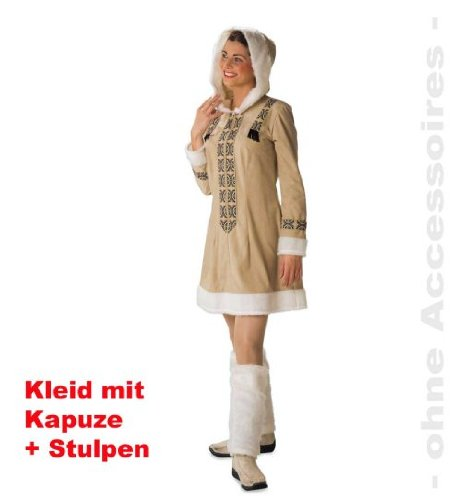 Eskimo Eskimofrau 44 Kleid mit Kapuze + Stulpen Damenkostüm ()
