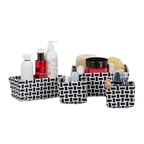 Relaxdays Aufbewahrungskörbe 4er Set, geflochten, robust, Aufbewahrungsbox für Bad, Kunststoff, Schrank, weiß-schwarz Kleidungsstück Boxen