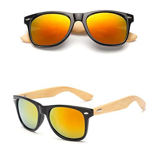 Eye-nak Holz Sonnenbrille UV400 - Unisex Damen und Herren Brille mit Bambus Bügeln - Holzbrille - unterschiedliche Farben (C5)