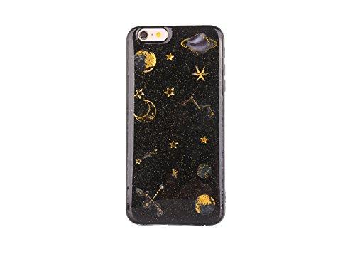 CrazyLemon pour iPhone 6S Coque, pour iPhone 6 Couverture TPU, Soft Varnish Technologie TPU Silicone Gel Caoutchouc Peau 3D Relief Motif Conception Coque pour iPhone 6 / 6S - Planète Noir