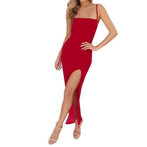 Trada Abendkleider, Mode Frauen Sommer Sexy Seitenschlitz Neckholder Sling Lange Sommerkleid Cocktailkleid V-Ausschnitt Print Sexy Verband Trägerlosen Elegante Minikleid (S, Rot) -